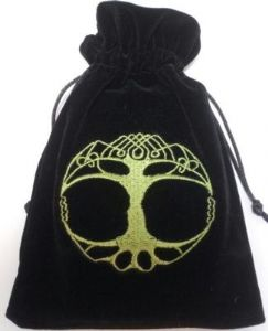 Velvet Tarot Card Bag: Black with Tree of Life design